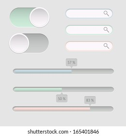 Set of search and progress bars. Vector illustration