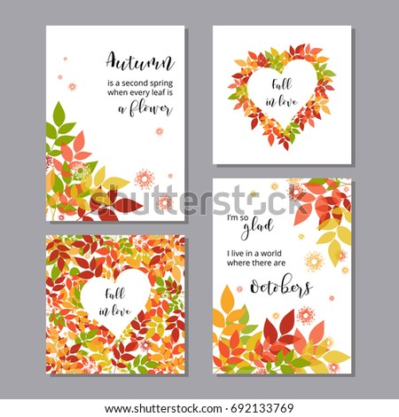 Set season greeting cards posters sample stock vector royalty free a set of season greeting cards or posters with a sample quote bright autumn foliage m4hsunfo