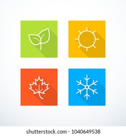 Set of season icons. Vector illustration