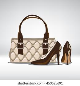Set of season trendy colors accessory. Woman high heel shoes and Handbag. Vector illustration