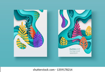 Set of seasonal banners with layered shapes and colorful leaves in paper cut style. The color palette is suitable for spring, summer, autumn. Effect of 3D in papercraft art. A4 size, vector