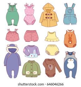 Set of seasonal infant clothes for kids babyish fashion infantile puerile cloth vector illustration