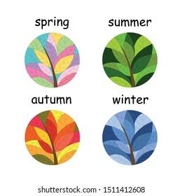 Set of seasons illustrations for logo, background, banner. Round tree illustrates each of four seasons: spring, summer, autumn, winter. Vector EPS 10