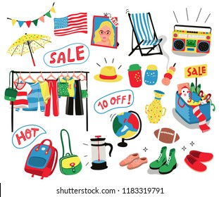 set of second hand clothes , accessories, and stuffs on sale, all in colorful doodle flat style, isolated on white background, illustration, vector