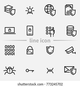 Set of secure vector thin line icons.