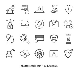 set of security icons, such as guard, cyber lock, unlock, shield, key