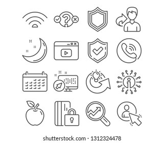 Set of Security, User and Quiz test icons. Wifi, Analytics and Calendar signs. Share idea, Blocked card and Video content symbols. Protection shield, Project manager, Select answer. Vector