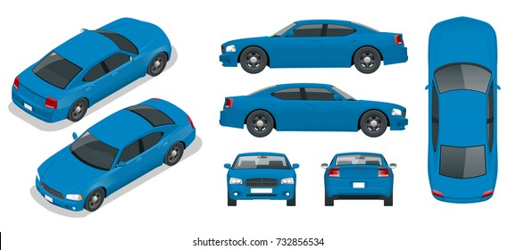 Set of Sedan Cars. Isolated car, template for branding and advertising. Front, rear , side, top and isometry front and back Change the color in one click All elements in groups on separate layers.