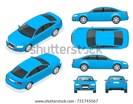 set sedan cars isolated car template stock vector royalty free