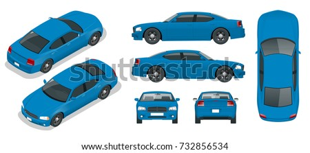 Set of Sedan Cars. Isolated car, template for branding and advertising. Front,