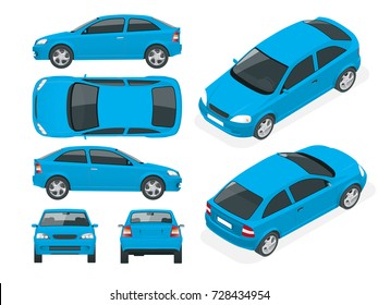 Set of Sedan Cars. Isolated vehicle, template for branding and advertising. Front, rear , side, top and isometry front and back Change the color in one click All elements in groups on separate layers
