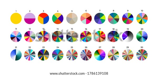 Set of segmented circles. Various number 0-30 of sectors divide the circle on equal parts. Colored outline graphics. Vector illustration. Isolated on black background.