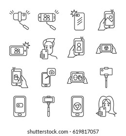 Set of selfie Related Vector Line Icons. Includes such Icons as monopod, selfie stick, smartphone, camera, front camera,photo