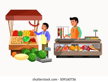 Set of sellers at the counter and stall. Collection vector shops in flat style. Kiosk with vegetables, meat products. Grocery stores illustration