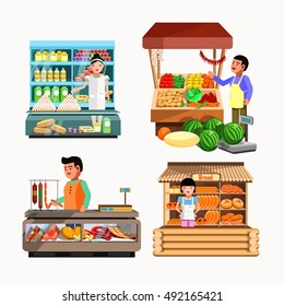 Set of sellers at the counter and stall. Seller Collection vector shops in flat style.Seller Kiosk with vegetables, bread, meat and milk products. Grocery stores illustration