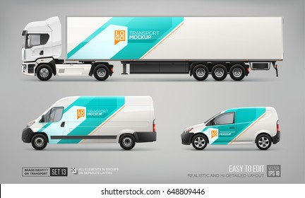 Set of Semi Truck, Cargo Van, Delivery Car - vector Mockup  template. Blue and turquoise color abstract graphic elements for brand corporate identity design on transport. Transport branding Mockup