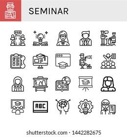 Set of seminar icons such as Student, Meeting, Education, Teacher, Businessman, Presentation, Training, Director, Online learning, Class, Blackboard, Learning, Leader , seminar