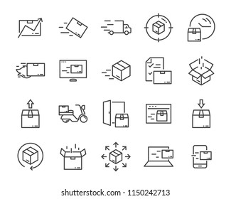 set of sending product , such as delivery, mail, service, shipping, transport, box and more