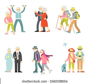 Set of senior man and woman characters in flat style isolated on white background. Old people in different poses, gestures, actions and situations. Healthy and active lifestyle for elderly.