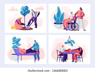 Set of Senior People Activity and Lifestyle. Aged Characters Gardening Hobby, Old Woman on Medical Procedure, Men Playing Chess. Retired Pensioner in Nurse Home. Cartoon Flat Vector Illustration