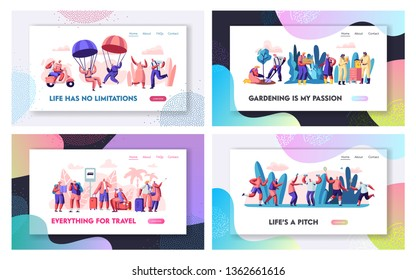 Set of Senior Retired People Happy Life on Pension. Aged Characters Extreme and Sport Activity, Gardening and Beekeeping Hobby, Website Landing Page, Web Page. Cartoon Flat Vector Illustration, Banner