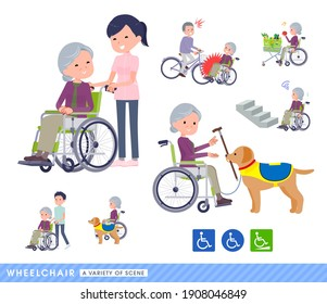 A set of senior women in a wheelchair.It depicts various situations of wheelchair users.