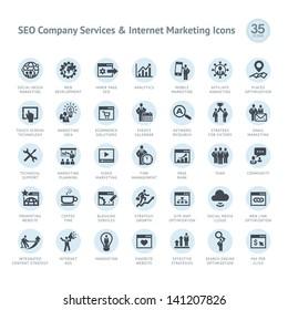 Set of SEO company service and Internet marketing icons