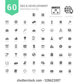 Set of SEO and Development icons solid style Vector Illustration