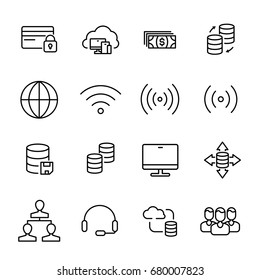 Set of SEO icons in modern thin line style. High quality black outline symbols for web site design and mobile apps. Simple linear pictograms on a white background.