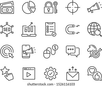 set of seo icons, website, marketing, advertise, ads