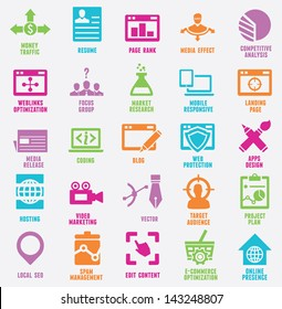 Set of seo and internet service icons - part 8 - vector icons