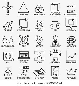 Set of seo and internet service icons - part 5 - vector linear symbols