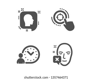 Set of Seo target, Head and Time management icons. Face declined sign. Click aim, Profile messages, Work time. Identification error.  Classic design seo target icon. Flat design. Vector