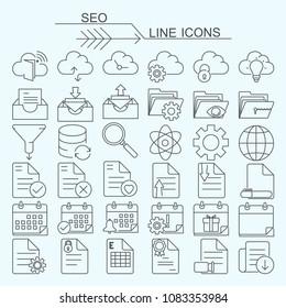 Set S.E.O vector line icons editable stroke