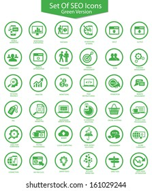Set Of SEO,Searching,Green version,vector