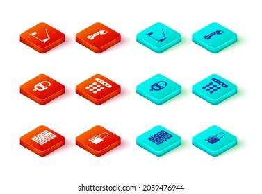 Set Server, Data, Web Hosting, Safe combination lock, Lock and key, Password protection, Police electric shocker and Parking car barrier icon. Vector