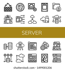 Set of server icons such as Firewall, Data mining, Music, Api, Connection error, Cloud computing, Solid state drive, Flash drive, Secure, Database, Server, Cloud, Encrypt , server