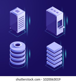 Set of server rack and database icons, digital technology elements, data center conceptual element isometric vector illustration ultraviolet background