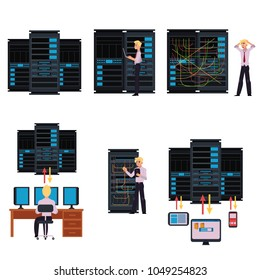 Set of server room images with data center and young system administrator configuring computer network and connecting cables while working with it technologies. Flat cartoon style vector illustration.