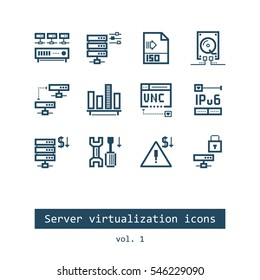 Set of Server Virtualization Flat Vector Icons