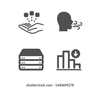 Set of Servers, Breathing exercise and Consolidation icons. Decreasing graph sign. Big data, Breath, Strategy. Crisis chart.  Classic design servers icon. Flat design. Vector