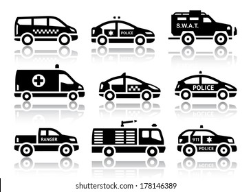 Set of service automobiles black icons with reflection, vector illustrations