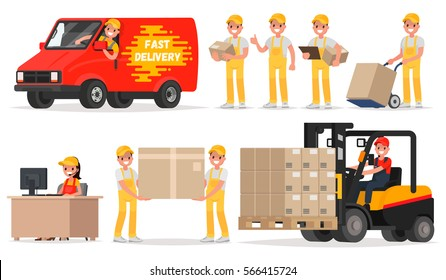 Set of service delivery. Staff: operator, driver, courier, loader. Vector illustration in a flat style