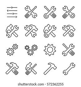 Set of setting icons in modern thin line style. High quality black outline repair symbols for web site design and mobile apps. Simple setting pictograms on a white background.