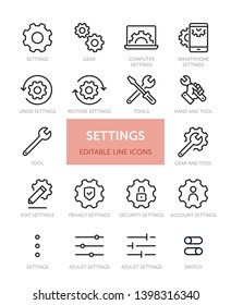 Set of Settings related vector line icons with editable stroke. Contains icons such as Gear, Computer Settings, Privacy Settings, Switch and more.
