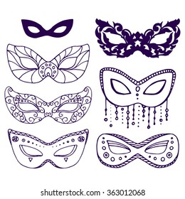set of seven carnival mardi gras mask, hand drawn vector illustration