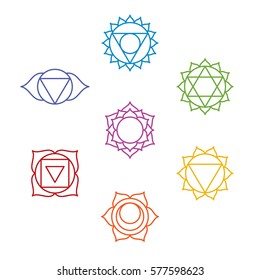 Set of seven chakra symbols. Yoga, meditation. Vector
