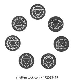 Set of seven chakras icons.Yoga,meditation and energy centers vector symbols.Muladhara,svadhisthana,swadhisthana,manipur,manipura,anahata,vishuddha,vishudha,ajna,sahasrara,akasha,third eye chakras