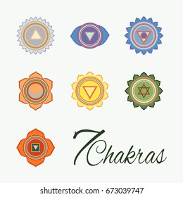 Set of seven chakras icons.Yoga,meditation and energy centers vector symbols. 7 Chakras. Third eye.