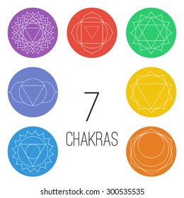 Set of seven chakras on the colorful shapes. Linear character illustration of Hinduism and Buddhism. For design, associated with yoga and India.